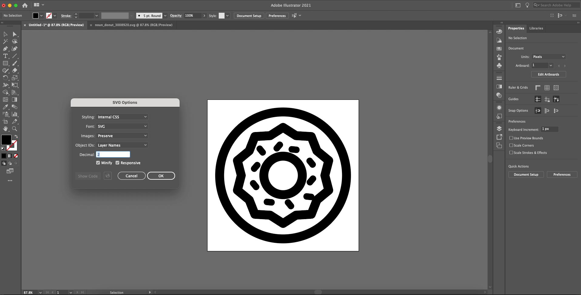 illustrator SVG options window