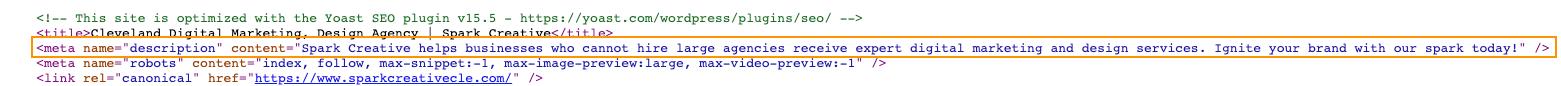 meta description in the page code