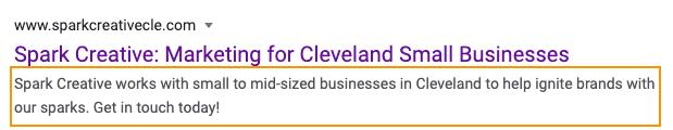 meta description on Google search results page