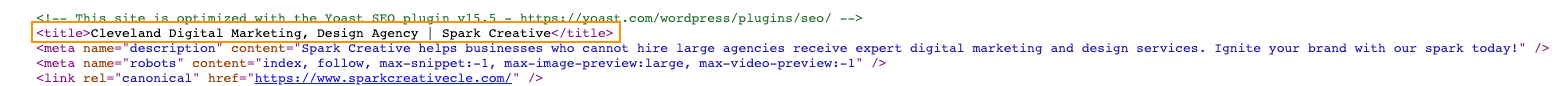 title tag in the page code