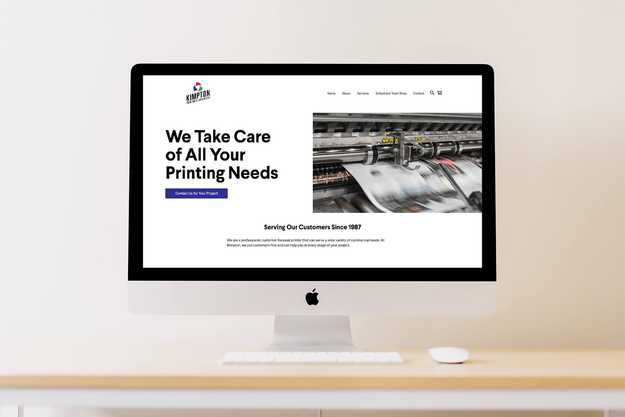 kimpton printing website mockup